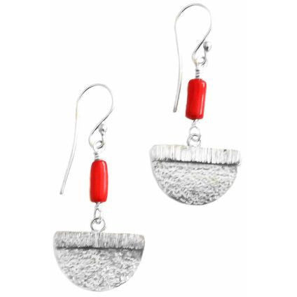 STERLING SILVER AND RED CORAL EARRINGS - Side Street Studio