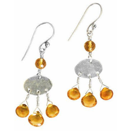 STERLING SILVER AND CITRINE EARRINGS - Side Street Studio