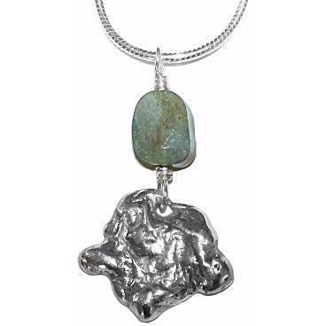 STERLING SILVER AND LABRADORITE PENDANT NECKLACE
