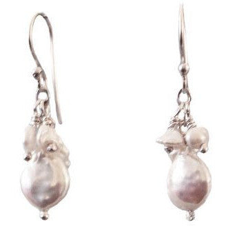 STERLING SILVER WHITE FRESHWATER PEARL EARRINGS - Side Street Studio