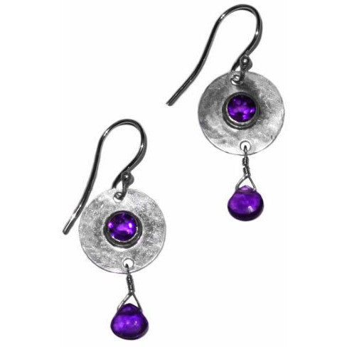 STERLING SILVER EARRINGS WITH AMETHYSTS - Side Street Studio