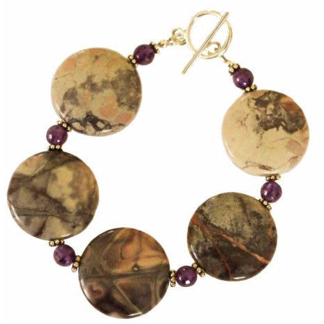 STERLING SILVER JASPER AND AMETHYST BRACELET - Side Street Studio