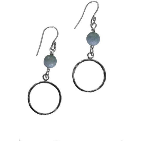STERLING SILVER AQUAMARINE EARRINGS - Side Street Studio