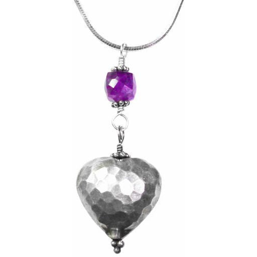STERLING SILVER AND AMETHYST PENDANT NECKLACE - Side Street Studio