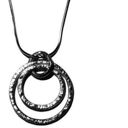 STERLING SILVER DOUBLE CIRCLE PENDANT NECKLACE - Side Street Studio