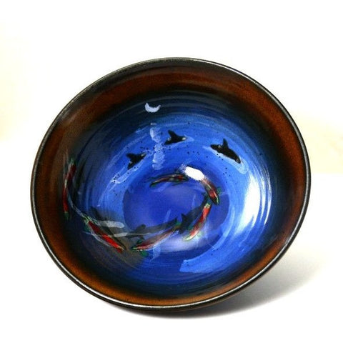SALMON AND ORCA DESIGN BOWL - Side Street Studio - 1