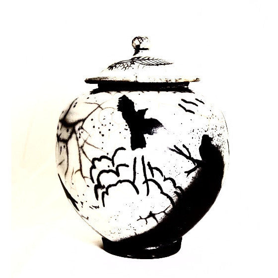 RAVEN DESIGN RAKU LIDDED VASE - Side Street Studio - 1