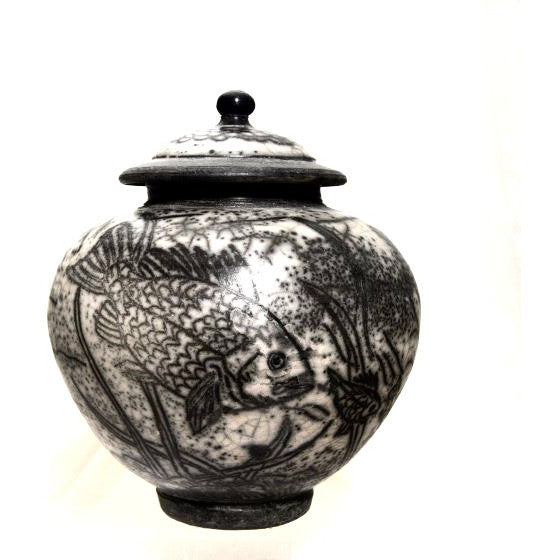 FISH DESIGN RAKU LIDDED VASE - Side Street Studio - 1