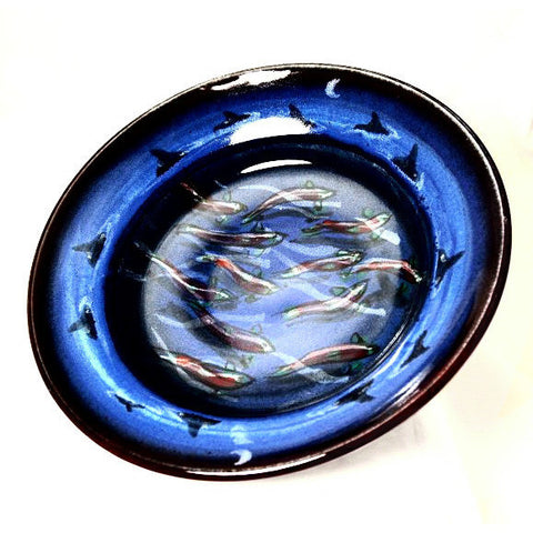 SALMON AND ORCA DESIGN SERVING BOWL - Side Street Studio - 1
