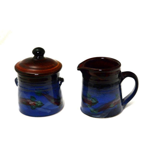 SALMON DESIGN SUGAR POT WITH LID AND CREAMER