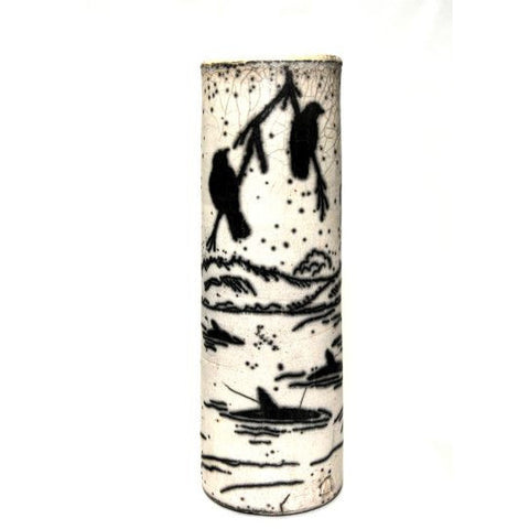 CROW DESIGN NAKED RAKU VASE