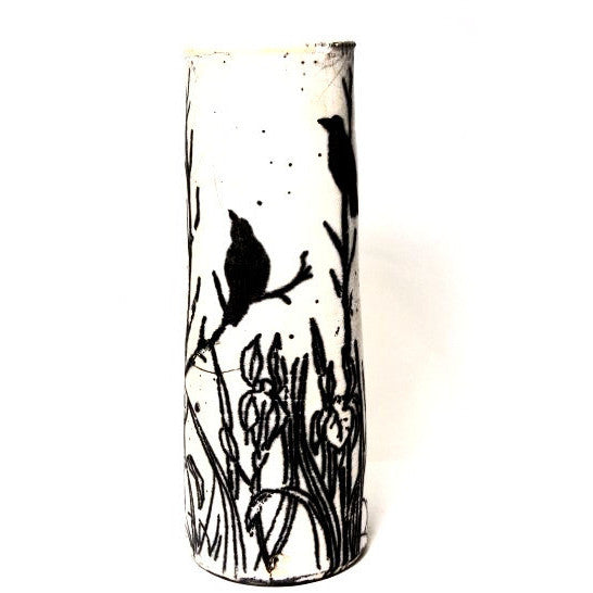 CROW IN TREES DESIGN RAKU VASE - Side Street Studio