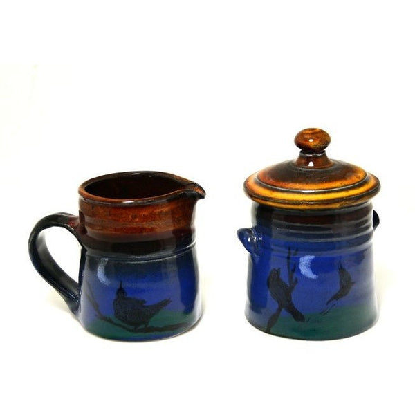 CROW DESIGN CREAM  AND SUGAR SET