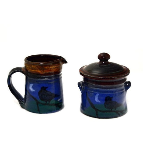 CROW DESIGN CREAMER AND LIDDED SUGAR POT