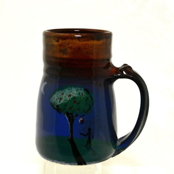 LARGE WIDE BASE MUG WITH TREE AND MOON - Side Street Studio