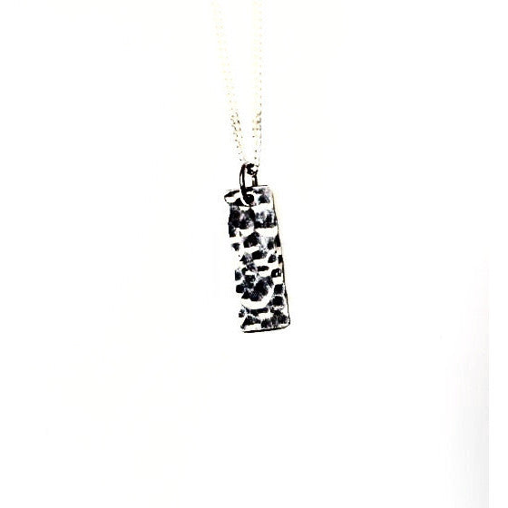 TEXTURED LITTLE LONG STERLING SILVER PENDANT - Side Street Studio