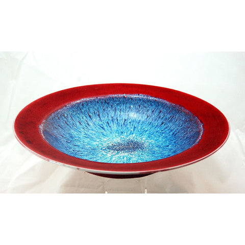 RED & BLUE GLAZE SHALLOW BOWL - Side Street Studio