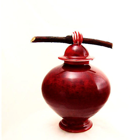 COPPER RED PORCELAIN SMALL TWIG JAR - Side Street Studio