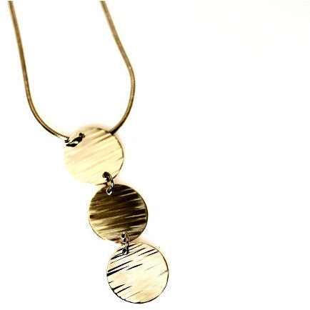 TEXTURED TRIPLE DISC LINES SILVER NECKLACE - Side Street Studio