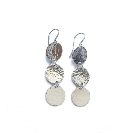 TRIPLE DISC SILVER EARRINGS - Side Street Studio