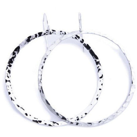 TEXTURED SILVER BIG HOOP EARRINGS - Side Street Studio