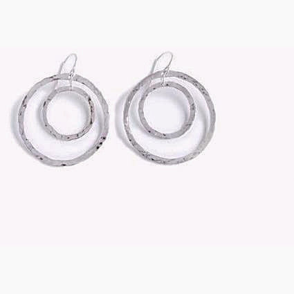 TEXTURED SILVER SMALL DOUBLE HOOP EARRINGS - Side Street Studio