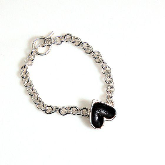 SILVER PATINA HEART BRACELET - Side Street Studio