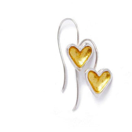 Sterling Silver and gold open heart earrings - Side Street Studio