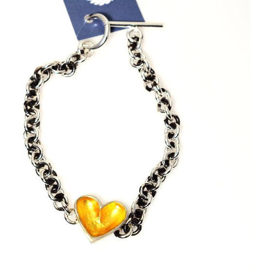 Sterling Silver and Gold heart bracelet - Side Street Studio