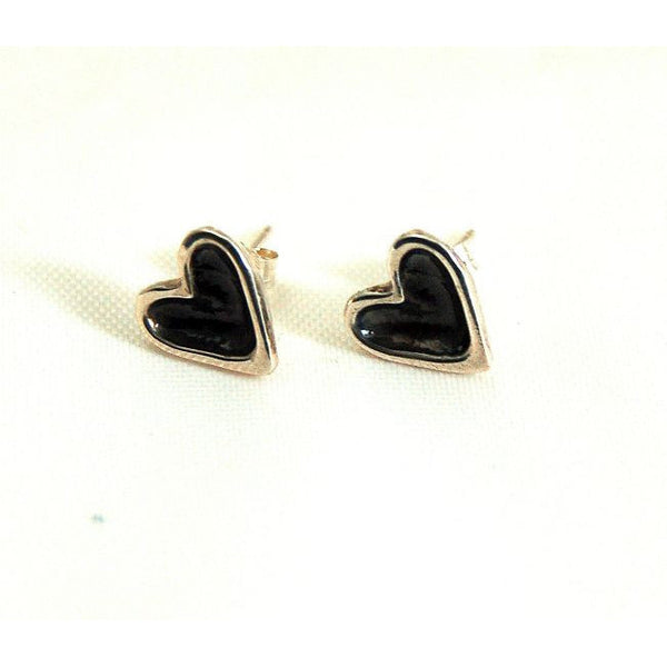 PATINA & SILVER HEART STUD EARRINGS - Side Street Studio