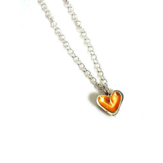 SMALL GOLD AND SILVER HEART PENDANT - Side Street Studio - 1