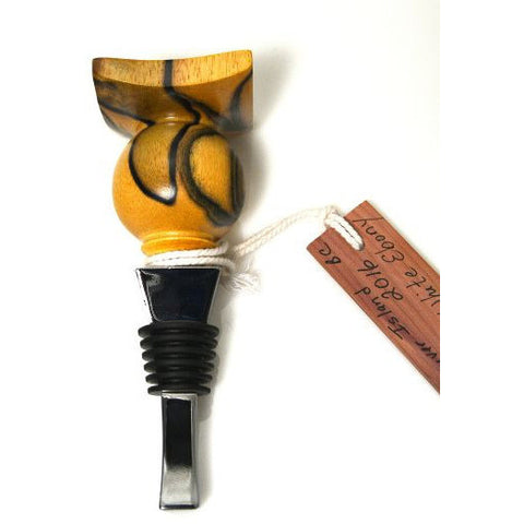 TURNED WOOD BOTTLE STOPPER - BLACK AND WHITE EBONY - Side Street Studio