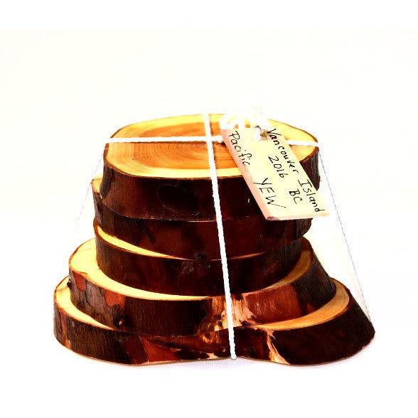 YEW WOOD COASTERS - SET 5 - Side Street Studio