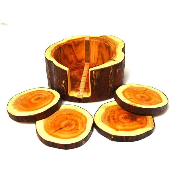 YEW WOOD COASTERS - SET 4
