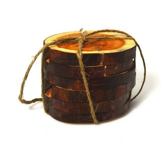 YEW WOOD COASTERS - SET 6