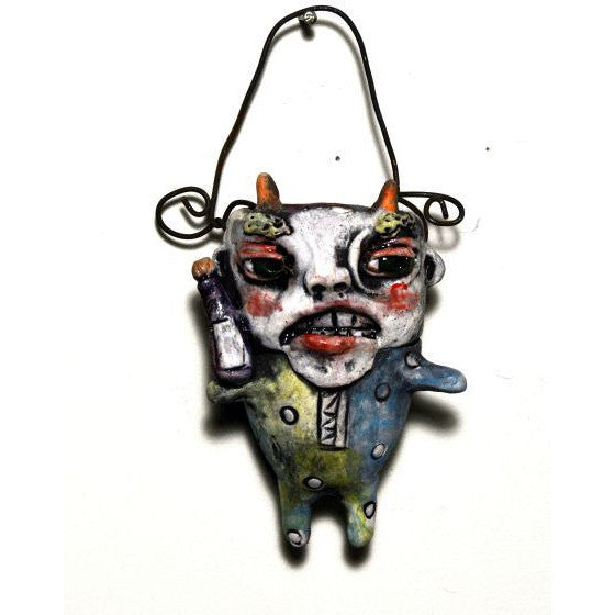 MAJOLICA CERAMIC HANGING CONTAINER - Side Street Studio