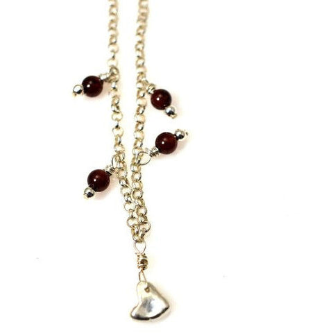 SILVER HEART AND GARNET NECKLACE - Side Street Studio