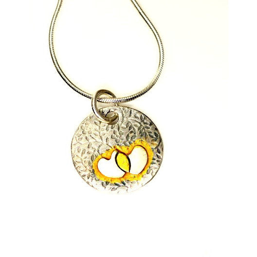 STERLING SILVER AND GOLD HEARTS PENDANT - Side Street Studio