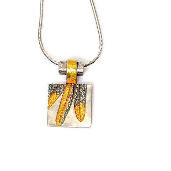 STERLING SILVER AND GOLD SQUARE LEAF PENDANT - Side Street Studio - 1