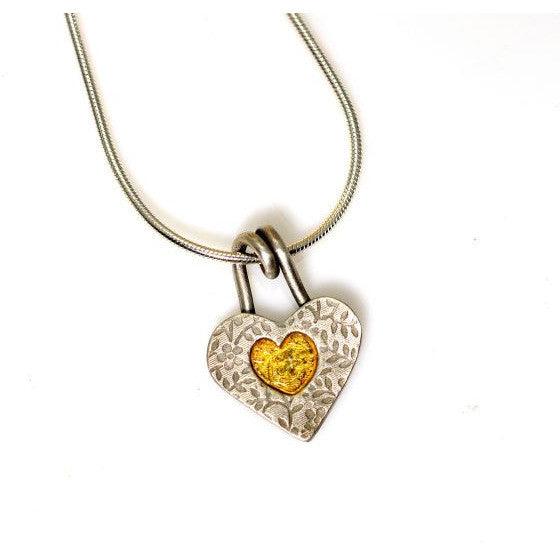 STERLING SILVER AND GOLD HEART PENDANT - Side Street Studio