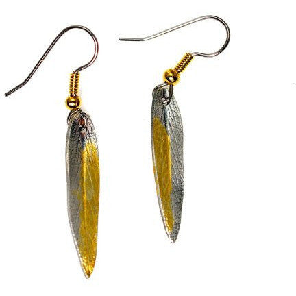 STERLING SILVER AND GOLD LEAF EARRINGS - Side Street Studio