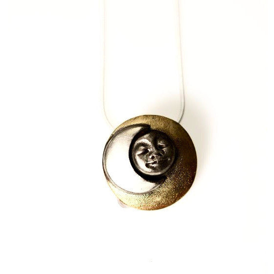 BRONZE AND SILVER MOON GODDESS PENDANT - Side Street Studio