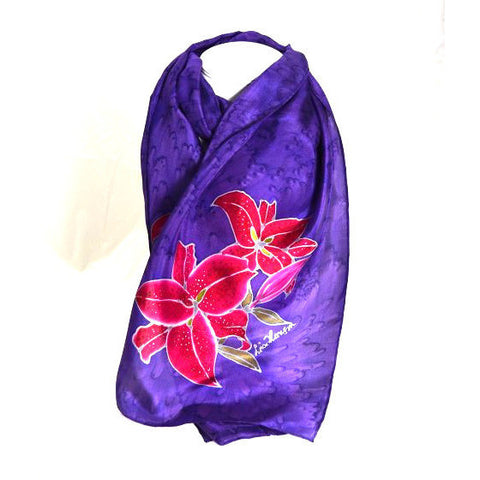 LILY FLOWER DESIGN SILK SCARF - Side Street Studio