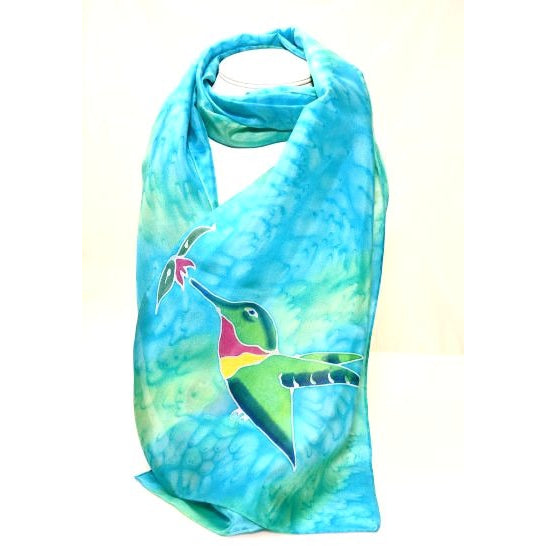 HUMMINGBIRD DESIGN SILK SCARF