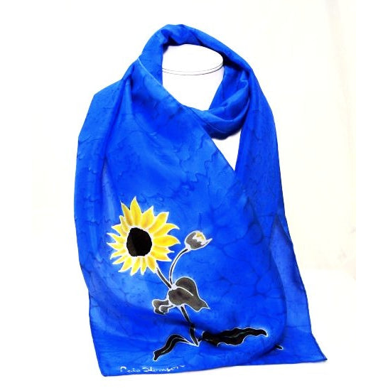 SUNFLOWER DESIGN SILK SCARF