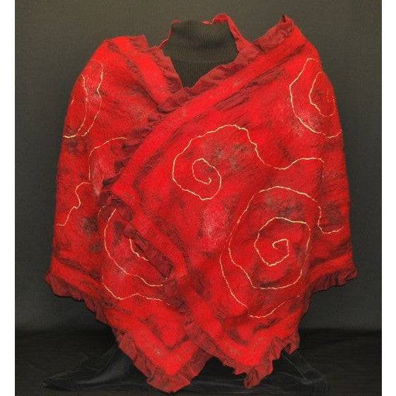 CRIMSON CARESS HAND FELTED WOOL AND SILK WRAP
