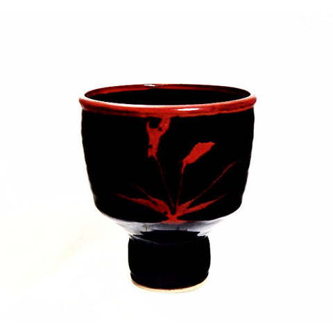BLACK AND NUTMEG GLAZE PEDESTAL BOWL - Side Street Studio