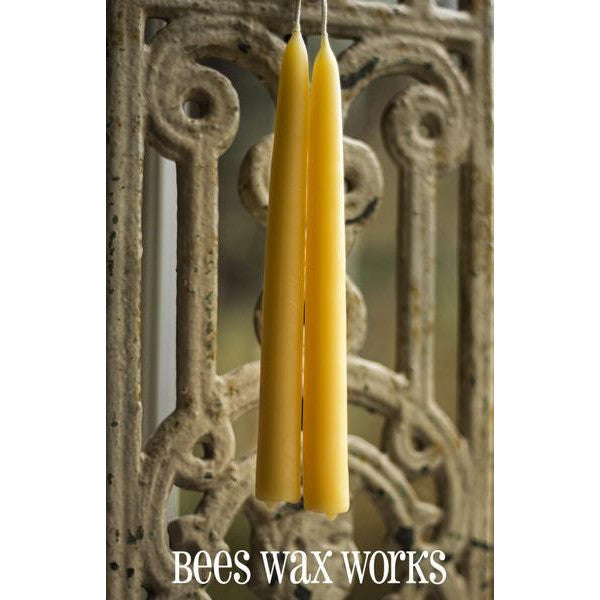 PURE BEESWAX 10 INCH TAPER CANDLE PAIR - Side Street Studio