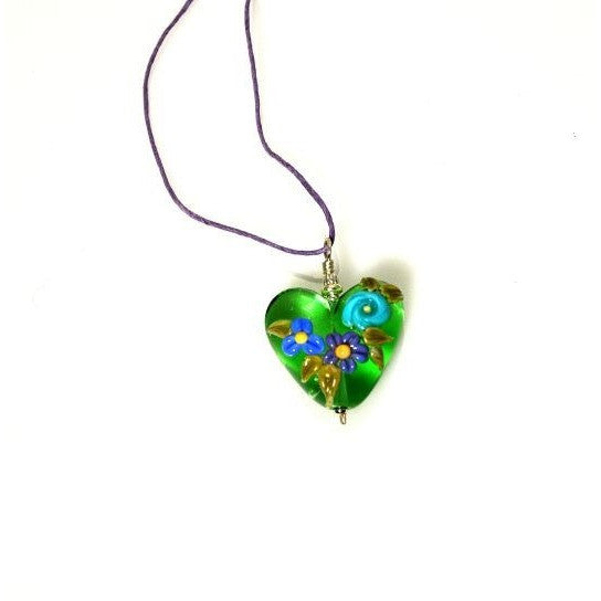 LAMPWORKED FLORAL GLASS HEART PENDANT