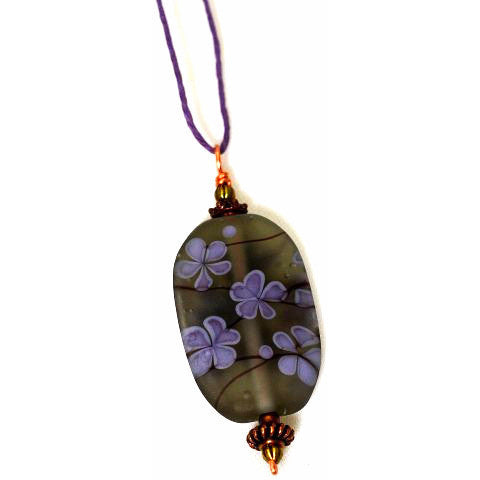 LAMPWORKED GLASS CHERRY BLOSSOM PENDANT - Side Street Studio